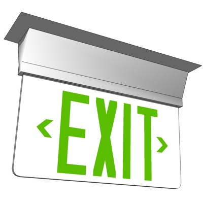 Opaque 2-Way Exit Sign with Green Lettering. Based....