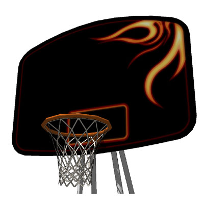 Street ball court and basket with fire texture on ....