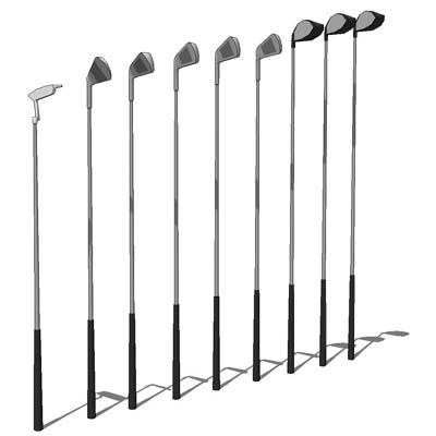 Set of low poly golf clubs. As they are low poly, ....