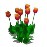 Low poly bunch of tulips