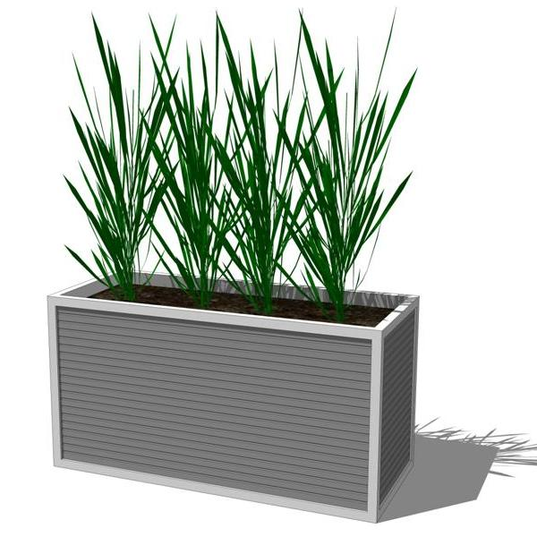Aluminum Reception Planter And Seating Group 3d Model