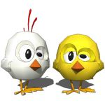 Two funny chickens for decoration or game model.