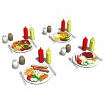 Four different Breakfast / Dinner place settings f...