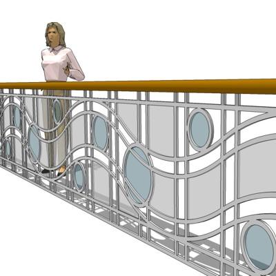 Metal Glass Railing 3D Model - FormFonts 3D Models & Textures