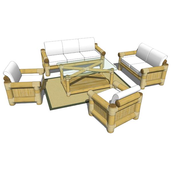 Bamboo sofa set 3d model formfonts 3d models textures