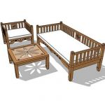 Indonesian teak furniture set consist of a daybed,...