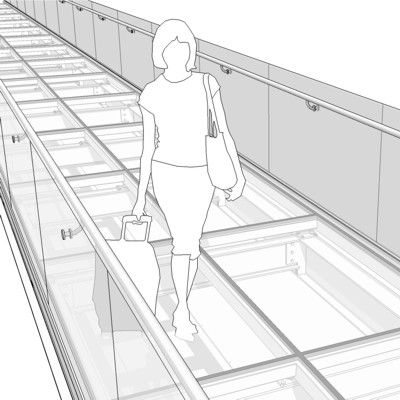 Elevated Transparent Pedestrian Bridge Glass Floo