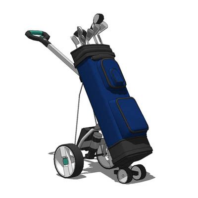 A variety of motorised golf trolleys with bags..