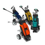 A variety of motorised golf trolleys with bags.