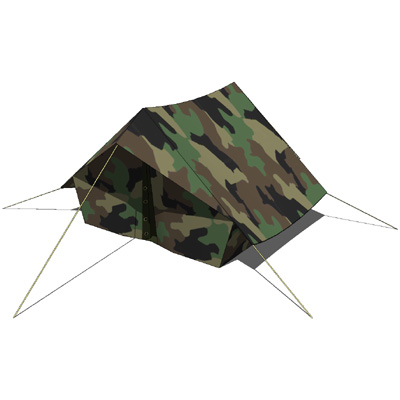 Military tents in standard camo version and desert....