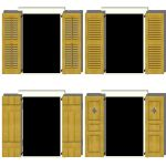 Window shutters in four different styles.