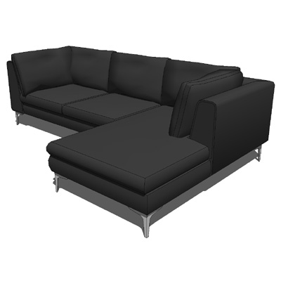 Albero sectional chaise 3d model formfonts 3d models for Sectional sofa revit