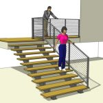 Cable Railing and Open Riser Stair. Modular Stair ...