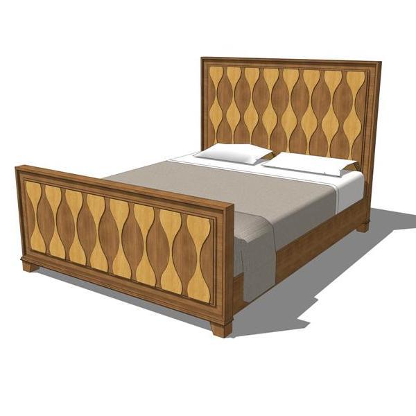 Rosell queen bedroom set 3d model formfonts 3d models for Cama 3d dibujo
