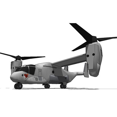 The resulting V-22 has a conventional cabin for tw....