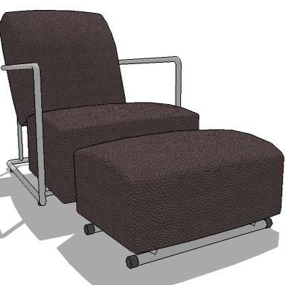 Beau Leather Armchair C/w Leg Rest.