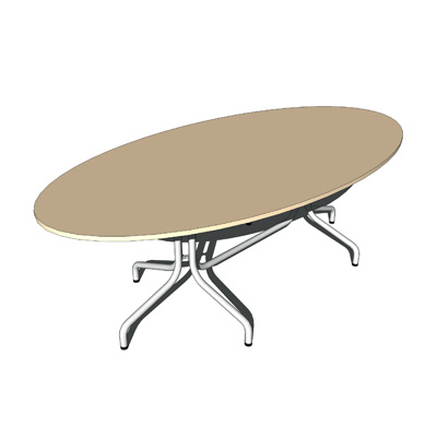 Table top oval, twin pedestal frame