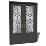 Iron exterior double door with wrought iron decora...