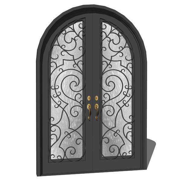 Iron Exterior Double Door With Wrought Iron Decora.