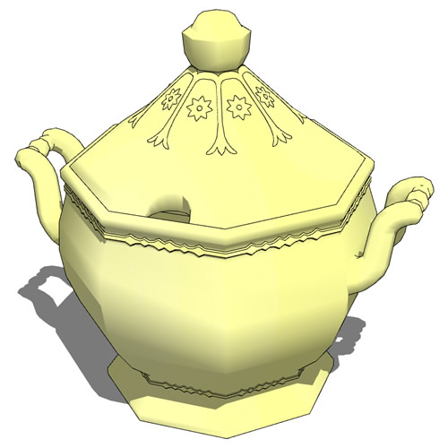 Higher poly Stoneware Soup Tureen, for close-up de....