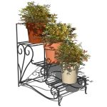 Wrought iron 3 steps plants stand.