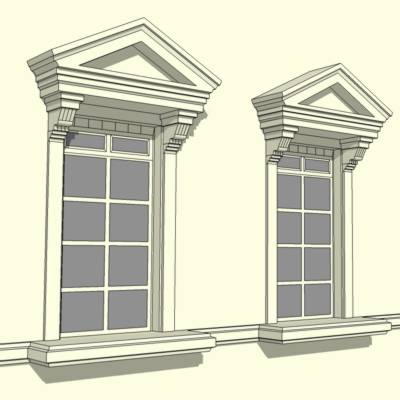 Pediment fenestration 3d model formfonts 3d models for Exterior door opening window