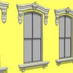 Neo-Classical and Baroque window cornice, trim and...