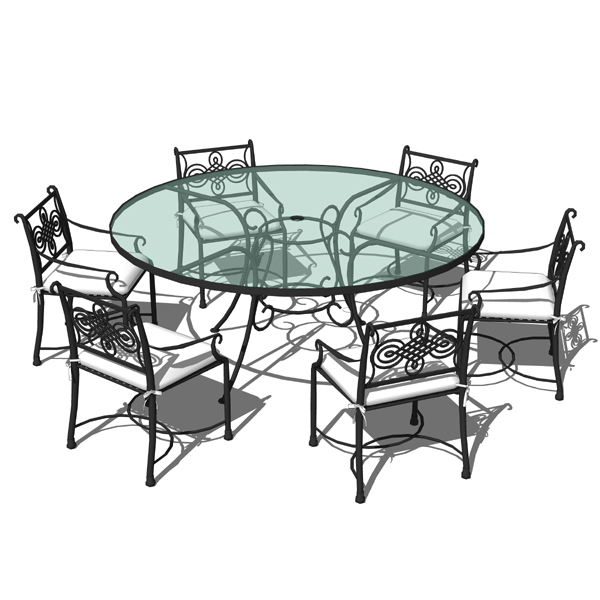 Wrought iron dining set 02 3d model formfonts 3d models for Wrought iron dining set outdoor