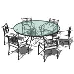 Wrought iron outdoor dining set. Model comes with ...