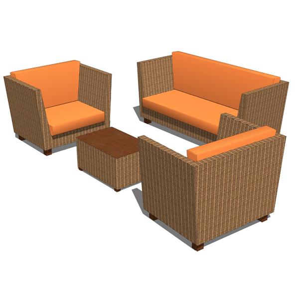 rattan sofa set 3d model formfonts 3d models textures. Black Bedroom Furniture Sets. Home Design Ideas