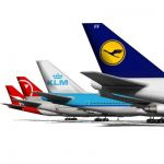 Boeing 747 in 4 Airline liveries