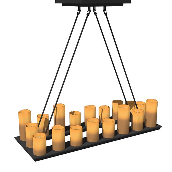 Pillar Candle Rectangular Chandeliers 3d Model Formfonts