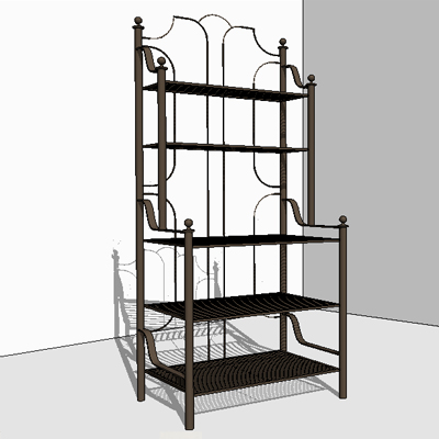 Barcelona Wrought Iron Patio Furniture   Bakers Rack 3D Model