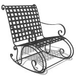 Wrought iron rocking chair.