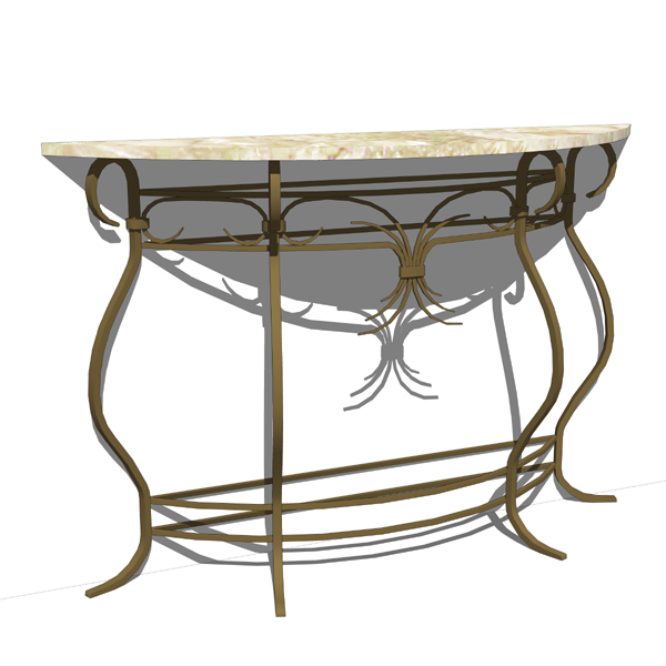 Wrought Iron Console Table 3D Model