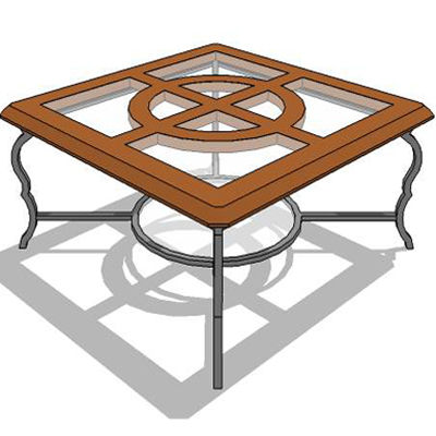 Square teak table with wrought iron leg.