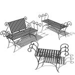 Wrought iron benches by Stone County Ironworks. Pa...