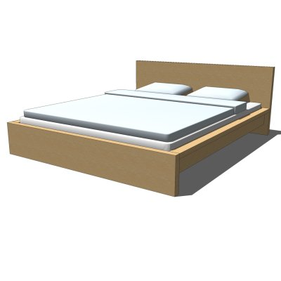 Ikea malm bed 3d model formfonts 3d models textures for Queen size bed ikea