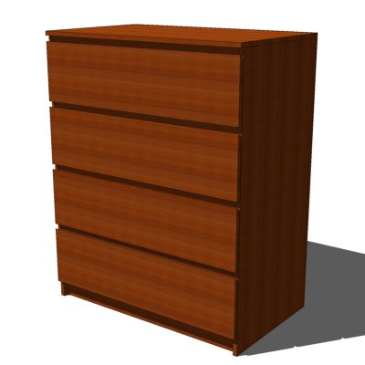 Ikea malm drawers medium brown 3d model formfonts 3d for Modelli sketchup ikea