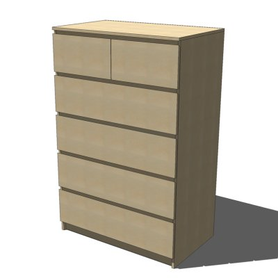 Ikea malm drawers birch 3d model formfonts 3d models for Ikea 3d