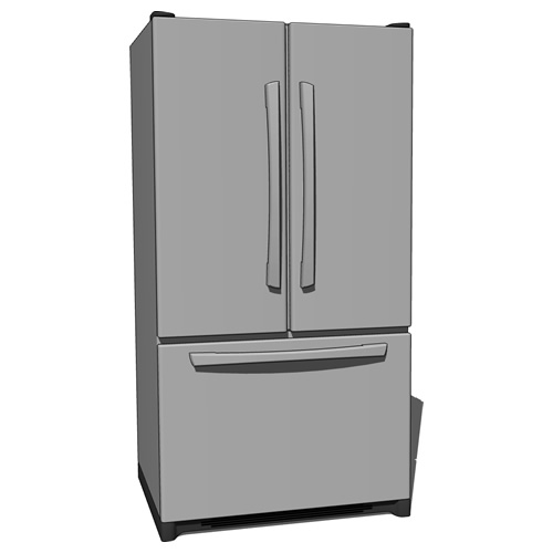 French Door Type Refrigerator 3d Model Formfonts 3d Models Textures