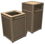 Indonesian teak park and gadern trash bin