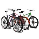 Mountain bikes (bicycles) in three different versi...
