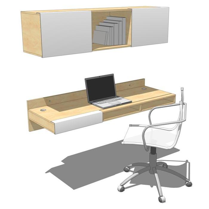 Lax Wall Mounted Desk And Shelf 3d Model