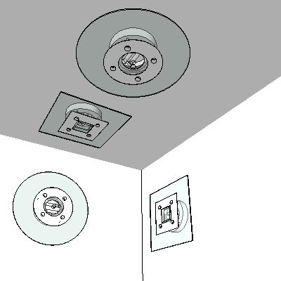 Ceiling mounted and wall mounted lightig fixtures.