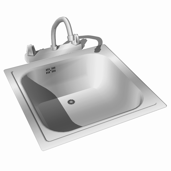 Stainless steel sink..