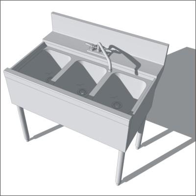 3 Comp Bar Sink 3d Model Formfonts 3d Models Amp Textures