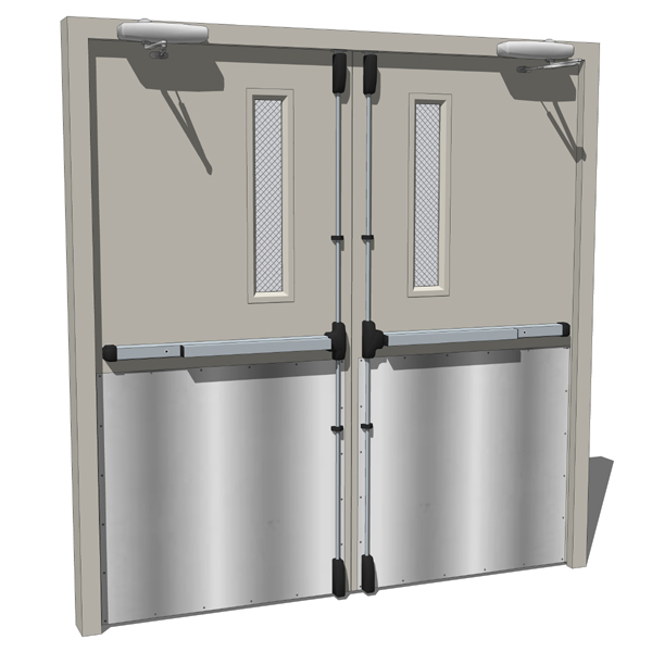 High traffic double panel metal doors that can be ....