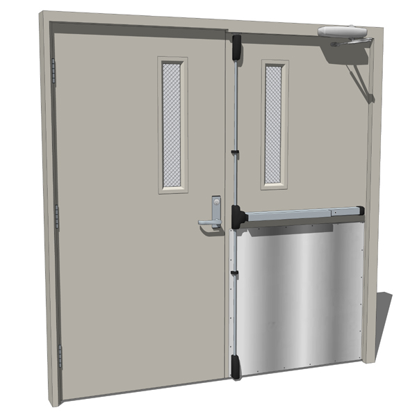 High traffic double opposing panels metal doors th....