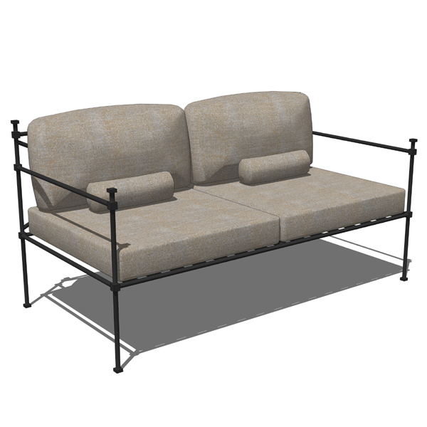 Simple, Hand Wrought Iron Sofa Set.